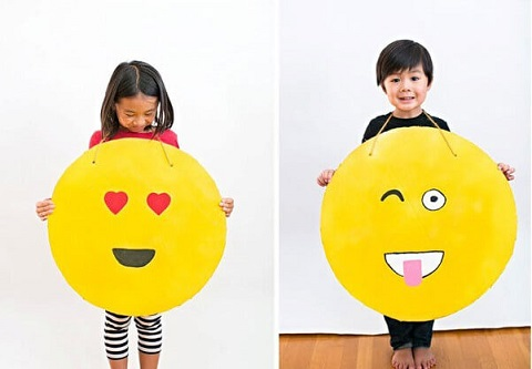 17. Easy DIY Cardboard EMOJI Costume for Halloween