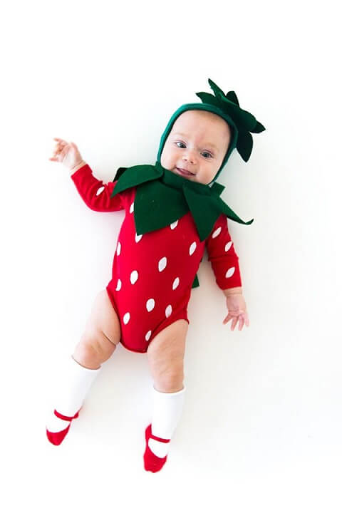 23. Homemade Strawberry Costume for Babies