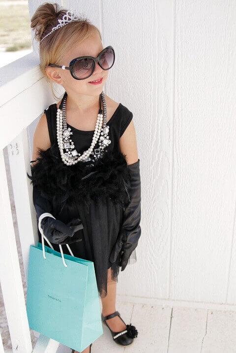 25. Audrey Hepburn Classic Halloween Costume for Girls