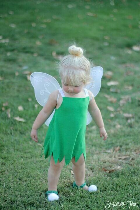 31. Homemade Tinker Bell Halloween Costume for Girls